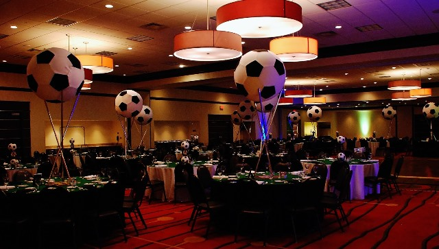 Huge soccer ball centerpieces