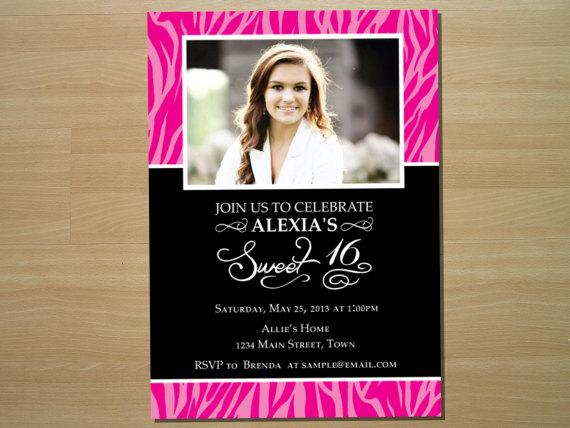 Love this adorable zebra print sweet 16 invitation