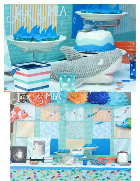 Love this light and airy shark themed party