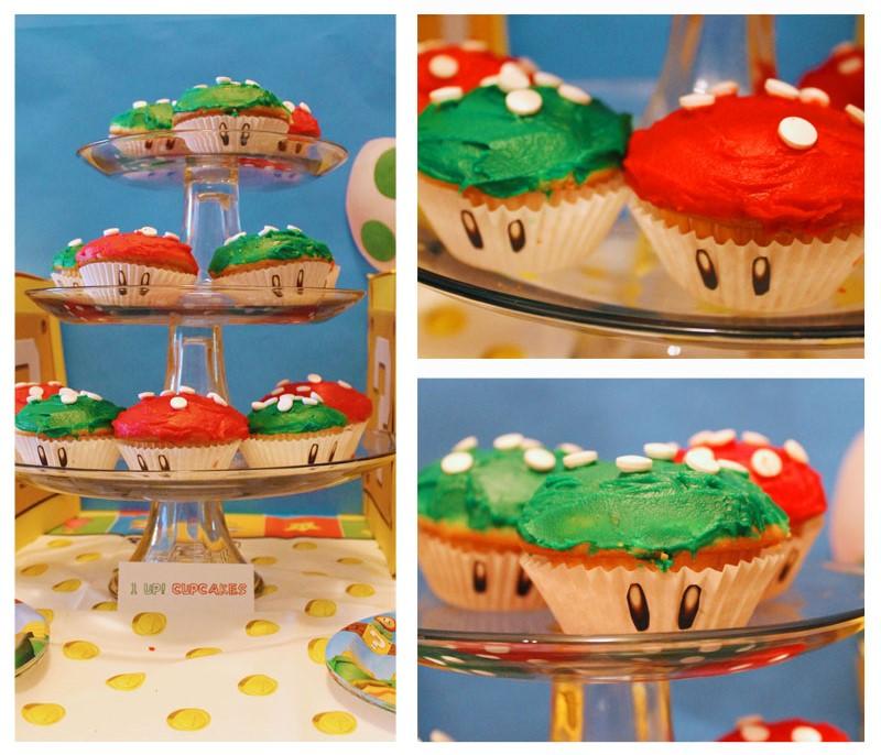 Mario Birthday Party Mushroom Cupcakes-B. Lovely Events