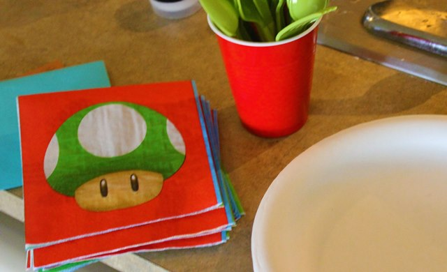 Mario Birthday Party Napkins and silverware-B. Lovely Events