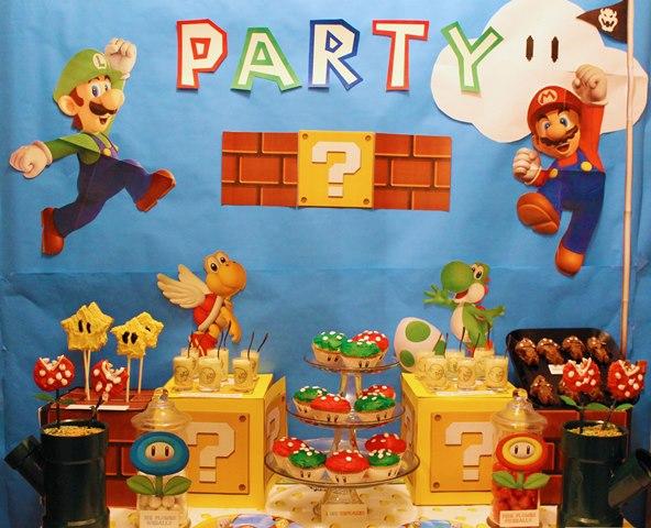 Mario Themed dessert bar-B. Lovely Events