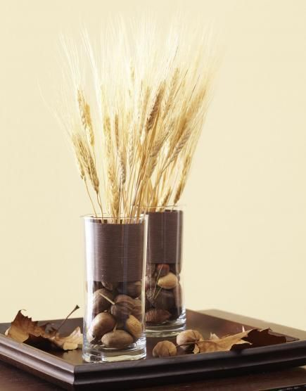 Nuts and wheat for fall decor