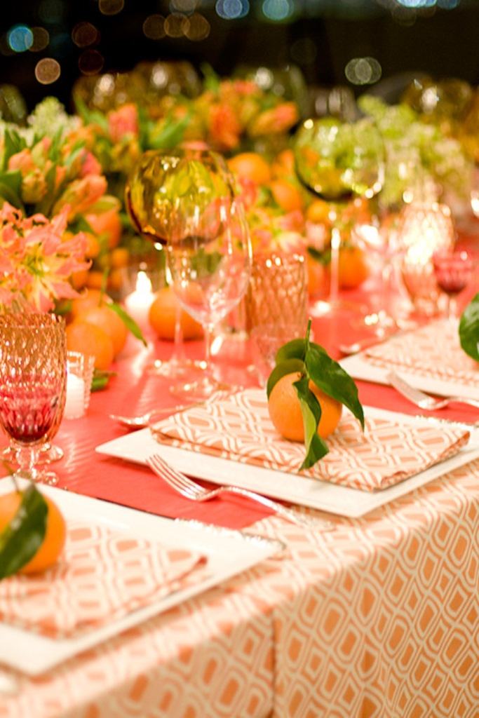 Orange and Green Modern Tablescape