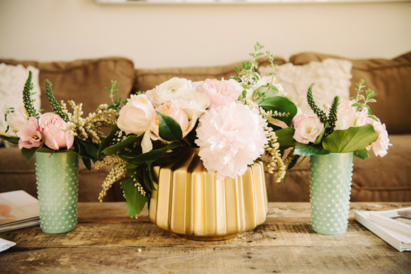 Painted milk glass wedding vases