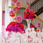 Pink bright and vibrant wedding centerpiece