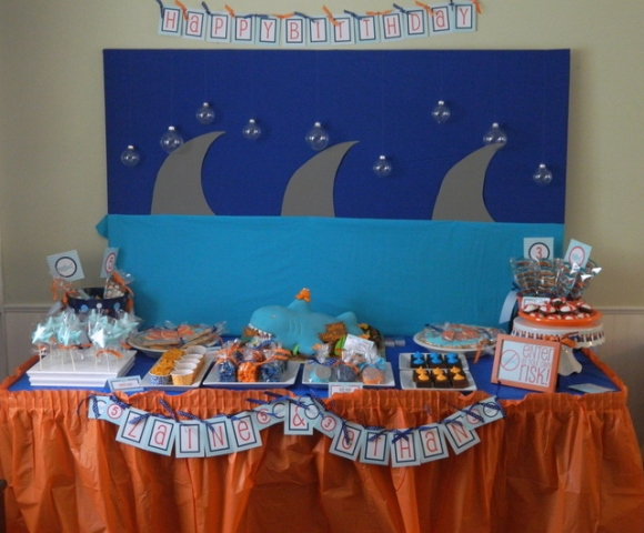 Shark themed dessert table-great for pool parties