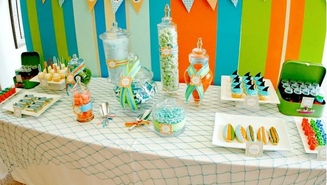 Shark themed pool party dessert table!
