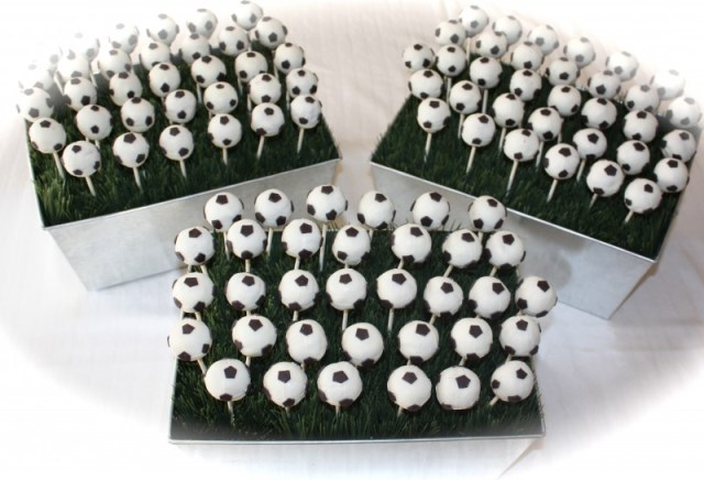 Soccer Ball cake pop display for a soccer party!