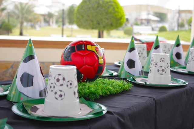 Soccer ball centerpiece at a soccer party