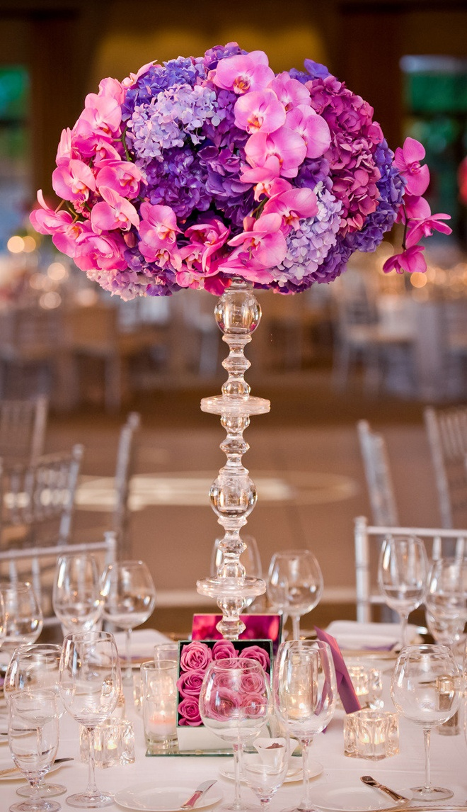 Tall acrylic modern vase for a wedding centerpiece