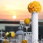 White tuffted Vase for wedding centerpieces