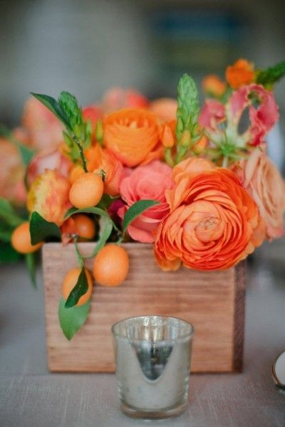 Wooden Box Vase for Centerpieces
