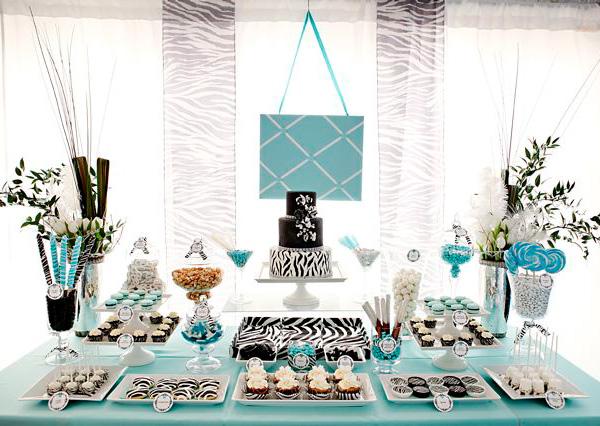 Zebra dessert table for sweet 16