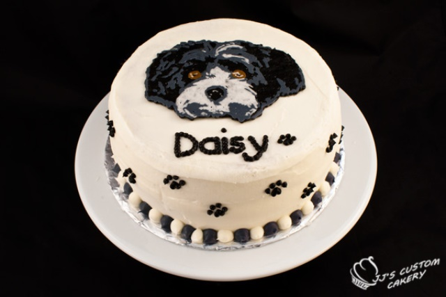 custom dog birthday cake-love the picture on it!
