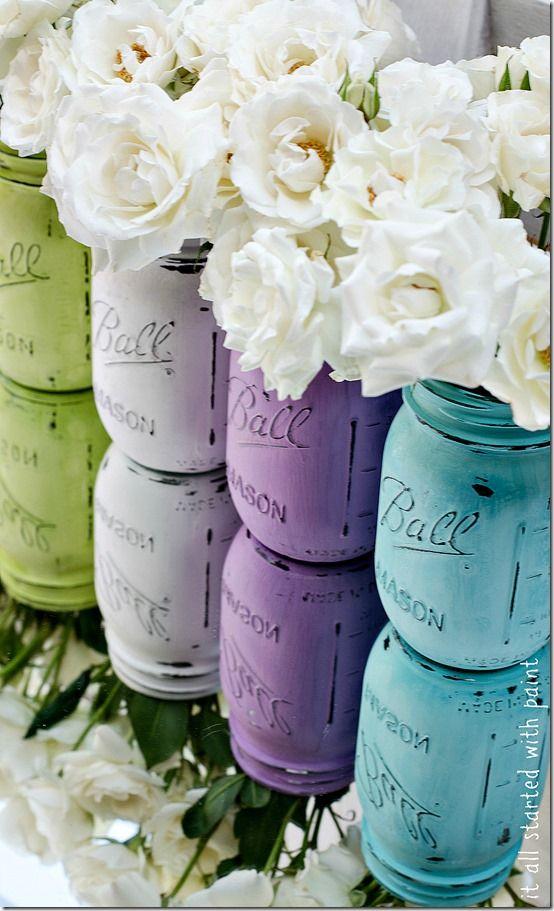 painted mason jar wedding vases