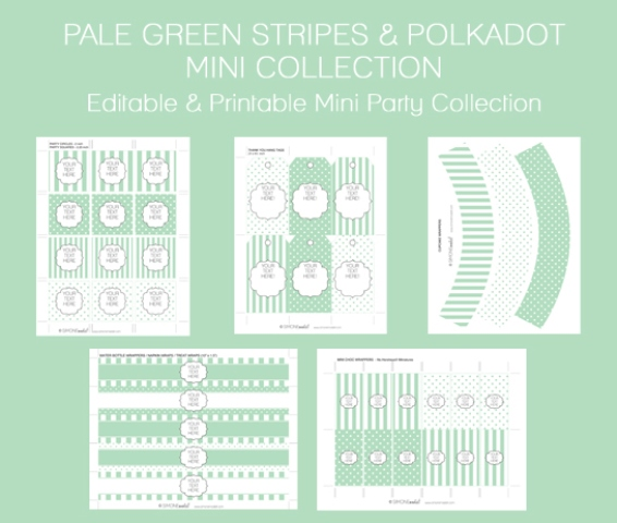 pale green  baby shower free printable set