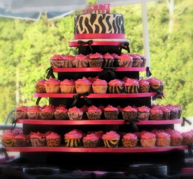 Sweet 16 Zebra Print Cupcakes and Cakes!