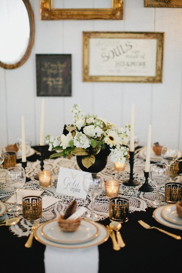 Inspiration Of The Day B Lovely Events : Black and Gold Wedding Tablescape from blovelyevents.com size 600 x 900 jpeg 125kB