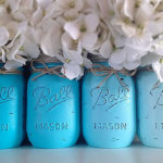 Blue Ombra Mason Jar Decorations