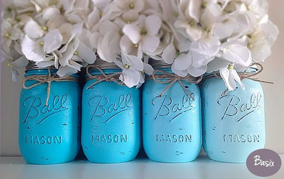 We are just smitten for the blue ombre mason jars from basix on etsy