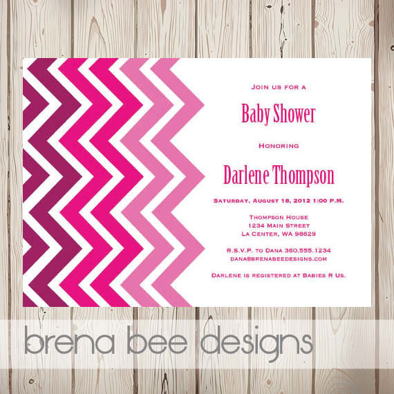 Chevron and Pink Ombre Invitation