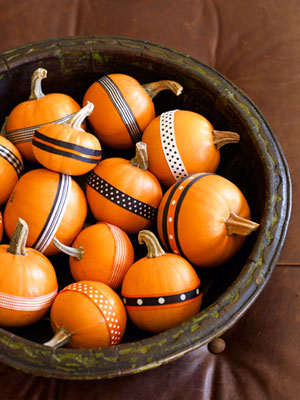 Halloween Pumpkins decorated with ribbons