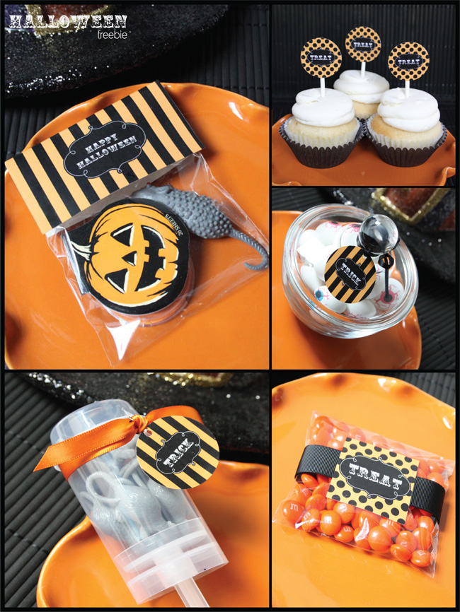 Cute Striped and Polka dotted Free Halloween Printables