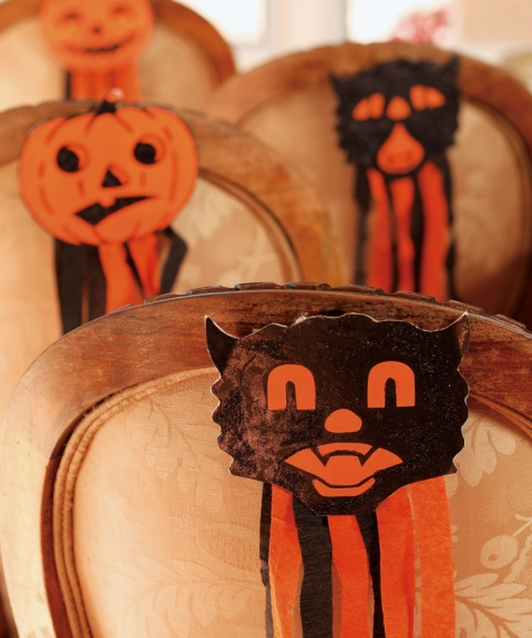 Love these Halloween Cat Chair decorations