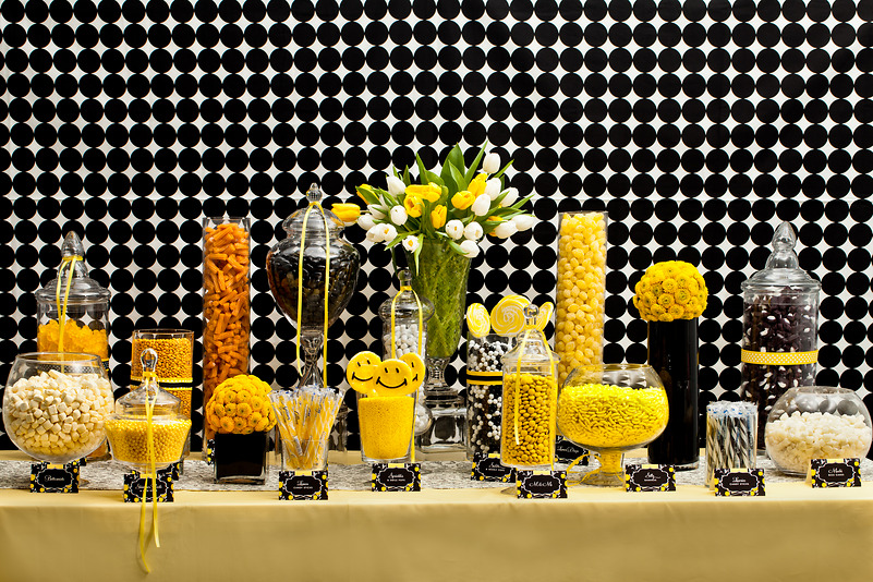 Love is sweet and so are wedding candy buffets b lovely events modern black and yellow candy buffet junglespirit Image collections