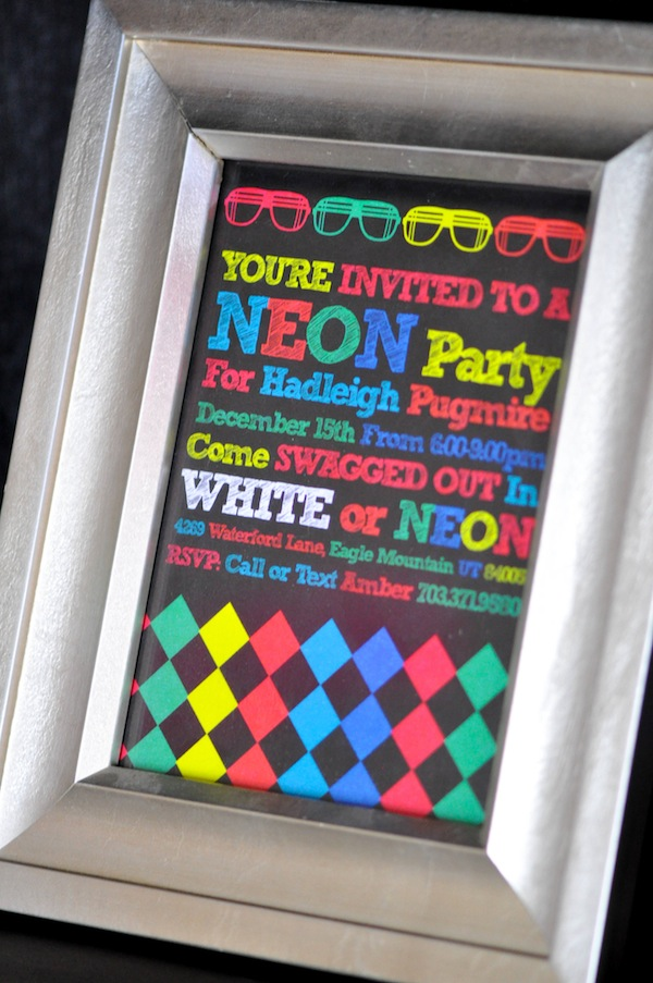 Neon Glow In The Dark Party Invitation