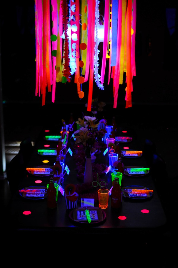 Neon Glow in the Dark Party Table