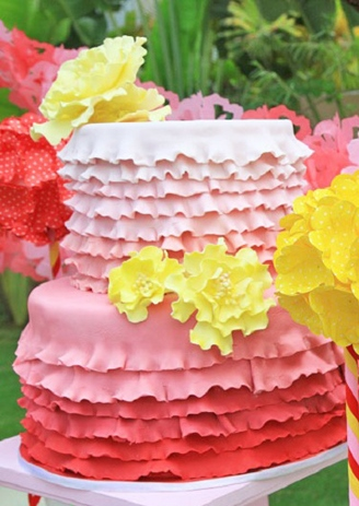 Pink Ombre Ruffled Cake For Pink Ombre Party