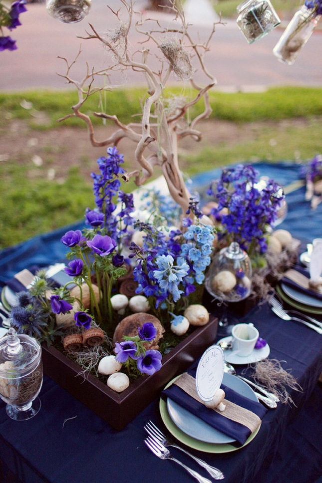 Purple And Blue Wedding Tablescape