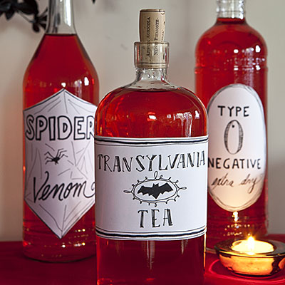 Red Vampire themed bottles