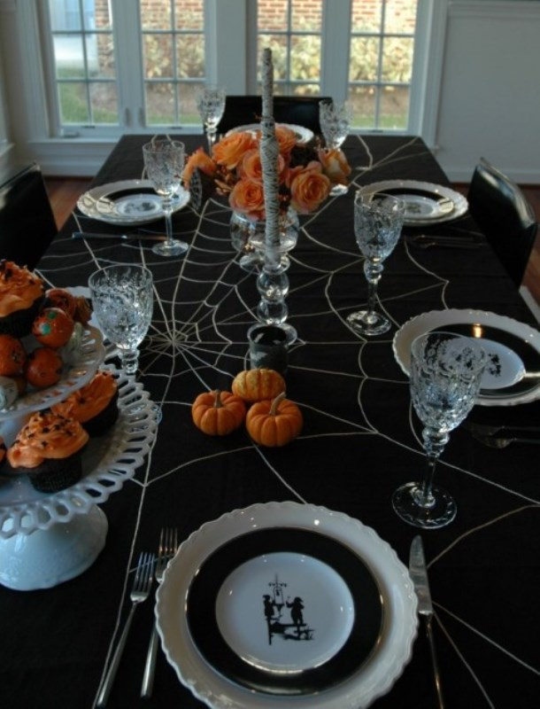 Spider and mummy Halloween Tablescape