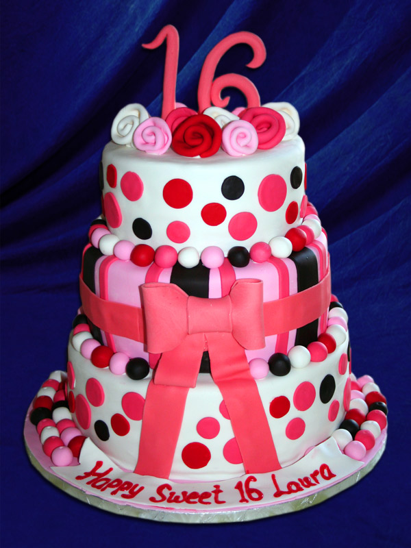 Sweet 16 polka dot cake that is too cute!