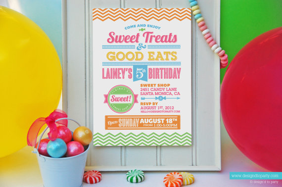 Sweet Shop Candy Party Invitations