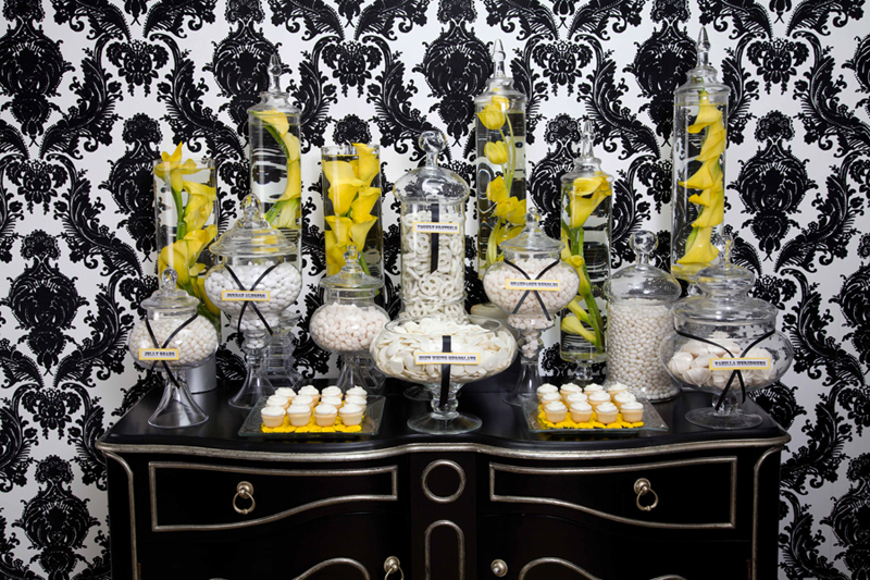 Yellow Black and white Cnady Buffet