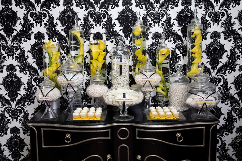 Yellow Black and white Cnady Buffet
