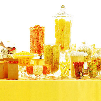 Yellow and Orange Wedding candy buffet