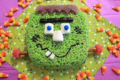 frankenstein crispy treat cake!