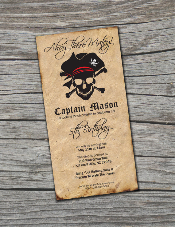 love this vintage looking pirate invitation