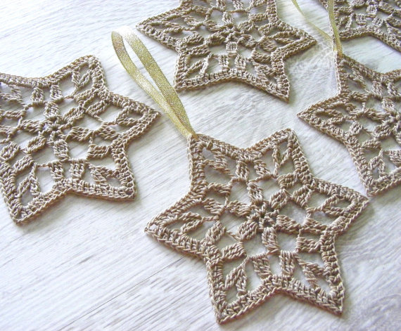 Crocheted Star Of David decorations