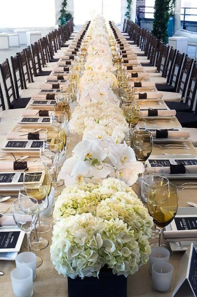 Gorgeous long hydrangea centerpiece b lovely events