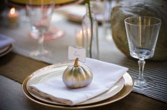 Metallic pumpkin place setting
