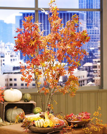 Mini fall tree centerpieces
