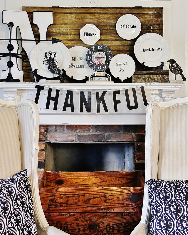 Modern black and white whimical Thanksgiving Mantel
