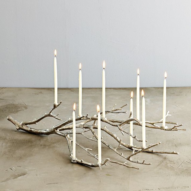Modern rustic Menorah display