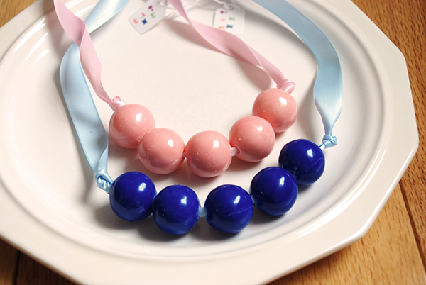 Pink and blue gumball necklaces